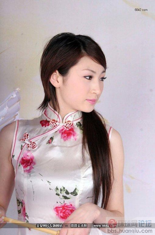 薇娜与真丝丝绸无袖长旗袍