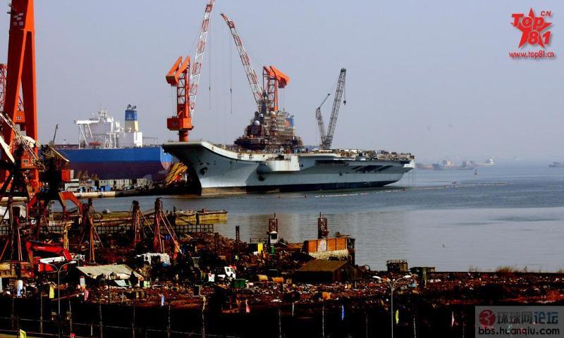 很多天线安装完毕:瓦良格航母施工现场最新状况!