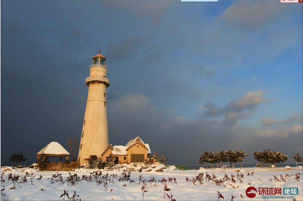 瑞雪·灯塔·海——威海新年第一雪!