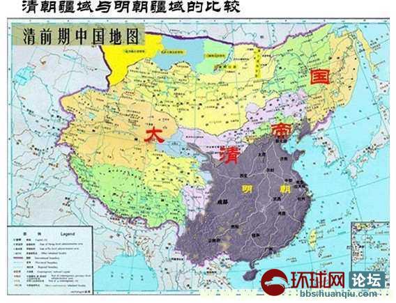 中国疆域最大时地图