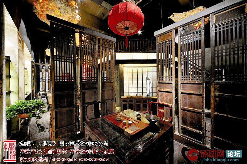 古典中式茶楼-大厅装修效果图-典型的茶楼中式装修设计,宁静惬意与高清图片