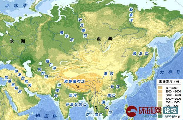 """亚洲地形地图_亚洲南、北高原之间的中央战略要点——中国未来""""国都 ..."""