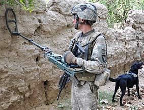 驻阿美军人狗协同探地雷