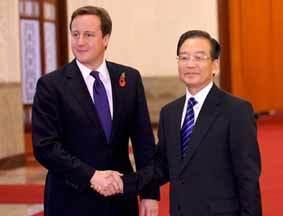 温家宝举行仪式欢迎英国首相卡梅伦访华
