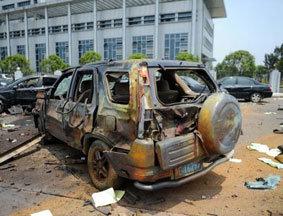抚州市临川区政府外爆炸现场
