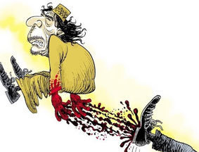西方媒体漫画讽刺卡扎菲