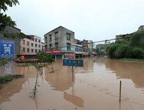 四川广安城区遭洪水袭击一片汪洋