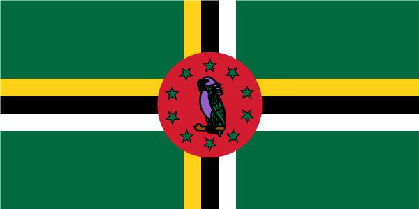 呈横长方形,长与宽之比为2:1。旗地为绿色。黄、黑、白三色的十字贯穿旗面,中央的十字交叉处为红色圆地,内有一只鹦鹉及其周围的十颗绿色五角星。绿色象征遍及全岛的香蕉园和茂密的森林,黄色代表柠檬、柑橘、可可、椰子等种植业,白色象征河流、瀑布和人民的纯洁,黑色代表当地主要为黑人和黑白混血种人及肥沃的土地。十字形代表人民的宗教信仰天主教。红色圆地象征该国所执行的社会发展计划,10颗五角星代表该国的10个地区,鹦鹉是多米尼克的国鸟。